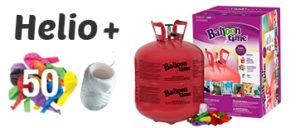 Helio y 50 globos latex de colores