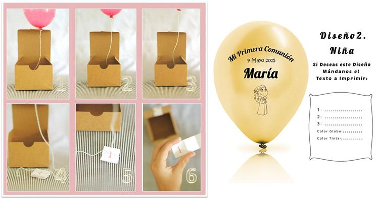 invitaciones en caja sorpresa con globos comunion madrid