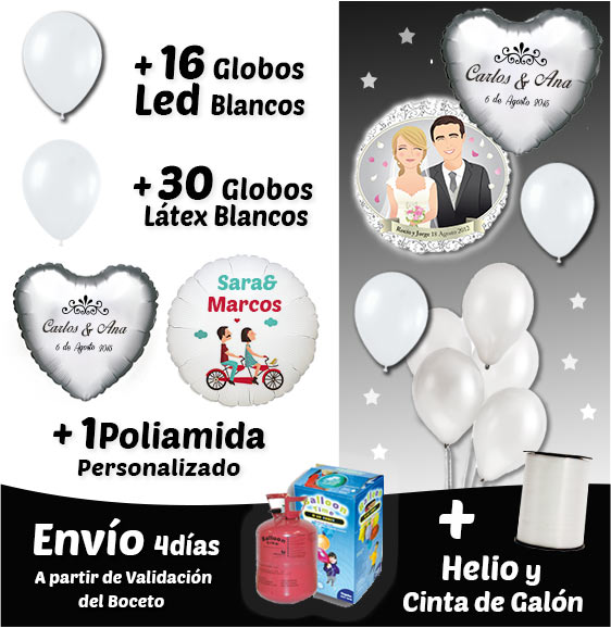 pack globos led + latex + polimiada personalizados+ helio