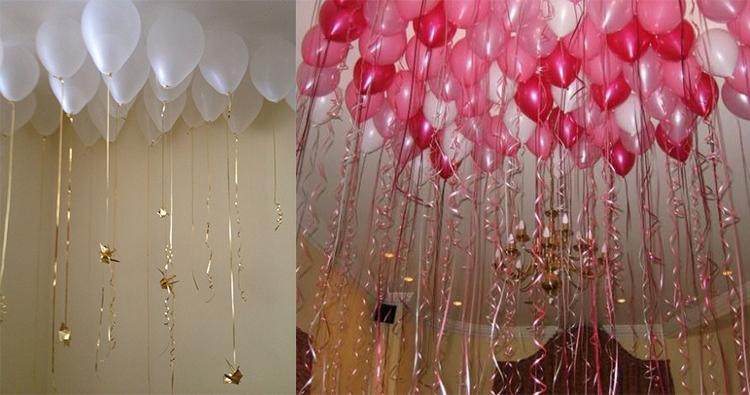 techos de corados con globos de helio