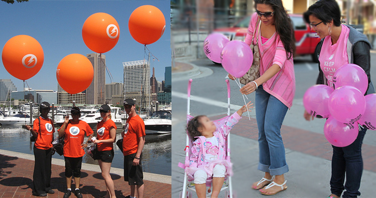 Street marketing con globos de helio látex impresos