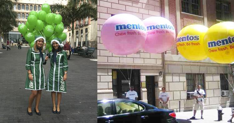 Street marketin con globos de helio y gigantes