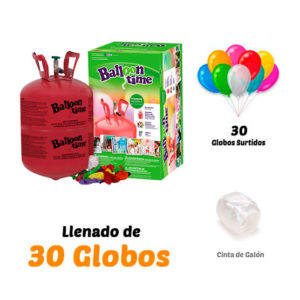 Botella de Helio Pequeña con bolsa de 30 globos cinta de Regalo