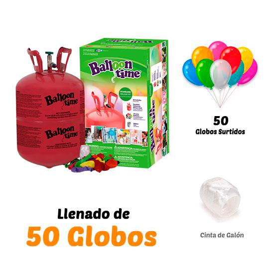 Botellas de Helio Desechables + 50 globos de Regalo