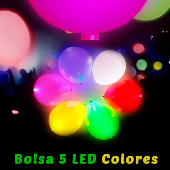 Globos Led Colores 5 Unidades 28 cm