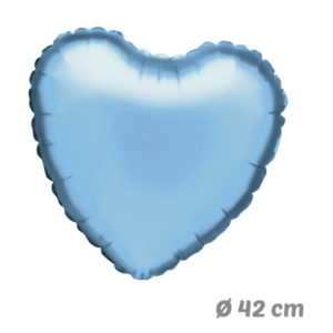 Globos Corazon Azul Claro de Helio 42 cm