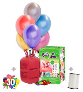 Helio para globos Bombona Pequeña + 30 globos Metalizados