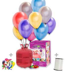 Helio para globos Bombona Grande + 50 globos Metalizados