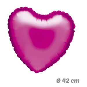 Globos Corazon Fucsia de Helio 42 cm