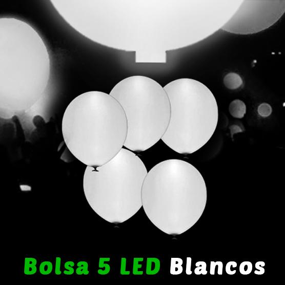 Globos Led Blancos 5 Unidades 28 cm