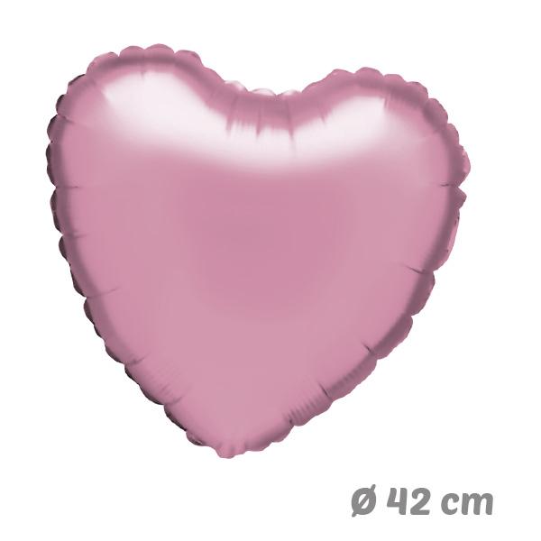Globos Corazon Rosa Claro de Helio 42 cm