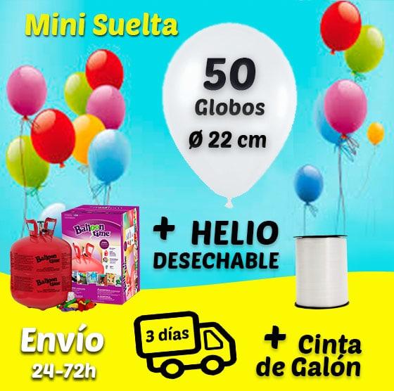 Suelta de 50 Globos Mini 22 cm + Helio + Cinta