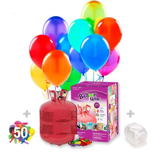 Helio para globos: Bombona Desechable grande + 50 globos latex