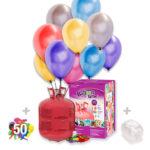 Helio para globos: Bombona Grande Desechable + 50 globos Metalizados