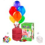 Helio para globos: Bombona Desechable pequeña + 30 globos latex