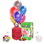 Helio para globos: Bombona Desechable pequeña + 30 Globos Metalizados