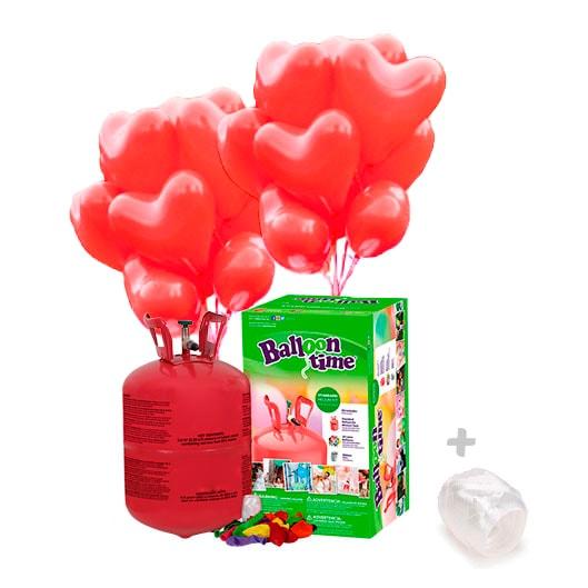 Bombona de Helio Pequeña con 30 globos Corazon