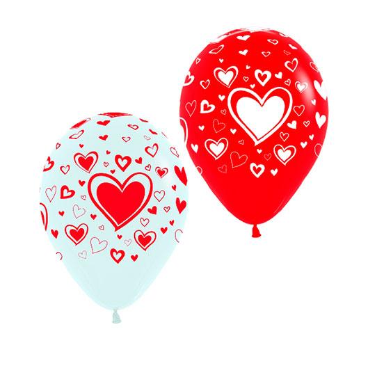 globos diseño corazones rojos y blancos