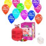 Helio para globos: Bombona Grande + 50 Globos Feliz Cumpleaños