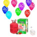 Helio para globos: Bombona Pequeña+ 30 globos Feliz Cumpleaños