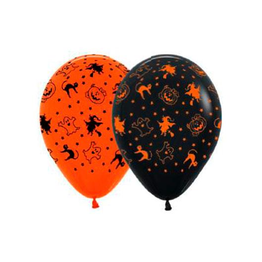 Helio para globos Halloween: Bombona Grande + 50 globos