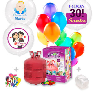 Pack Globos: Helio grande +1 Globo Personalizado A Todo Color + 50 Globos surtidos