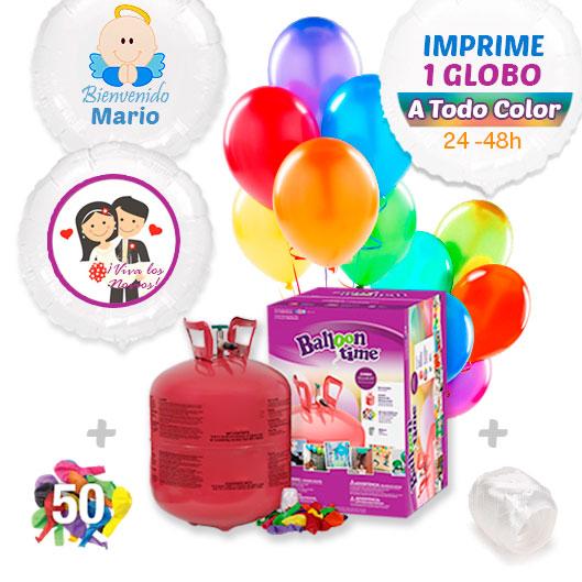 Pack Globos Sorpresa: Helio grande + Globo Personalizado A Todo Color + 50 Globos