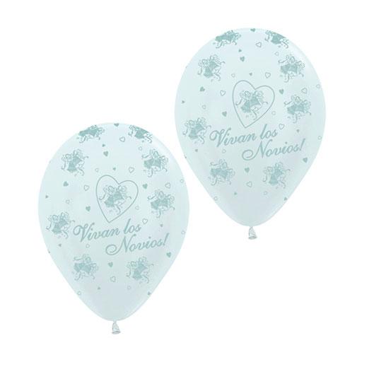 Helio para globos Boda: Bombona Pequeña + 30 globos Vivan los Novios