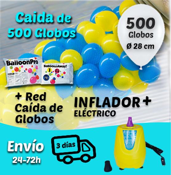 Caida de 500 Globos 28 cm + Inflador + Red