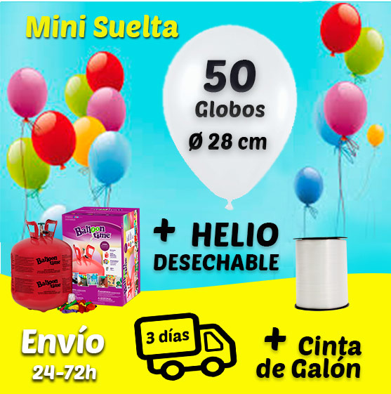 Suelta de 50 Globos Mini 28 cm + Helio + Cinta