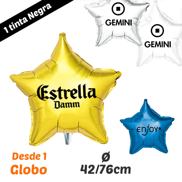 Desde 1 Globo Estrella Impresos 1 Tinta 42cm