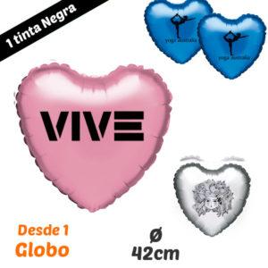 Desde 1 Globo de Corazon Impresos 1 Tinta 42/82 cm