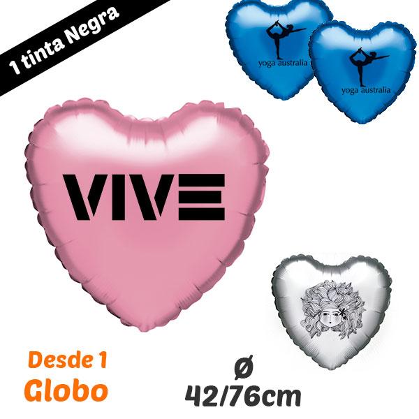 Desde 1 Globo de Corazon Impresos 1 Tinta 42/76 cm