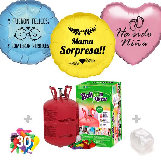 Pack Globos Sorpresa: Helio pequeño + Globo Personalizado 1 tinta + 30 Globos Surtidos