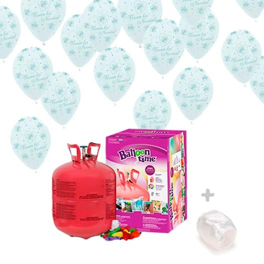 Helio para globos Boda: Bombona Grande + 50 globos Vivan los Novios