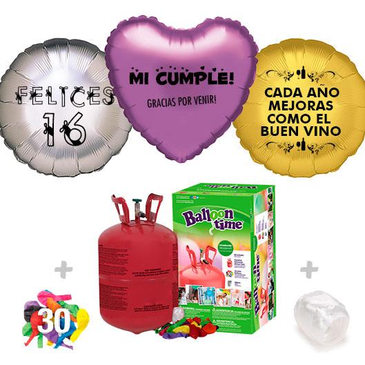 Pack Globos Cumpleaños: Helio pequeño + Globo Personalizado 1 tinta + 30 Globos Surtidos