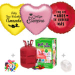 Pack Globos San Valentin: Helio pequeño + Globo Personalizado 1 tinta + 30 Globos Surtidos