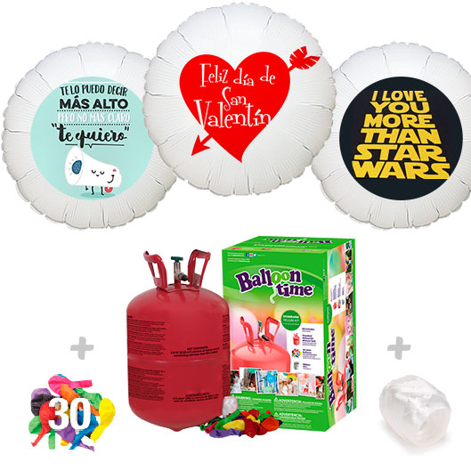 Pack Globos San Valentin: Helio Bombona pequeña + 1 Globo Personalizado A Todo Color + 30 Globos