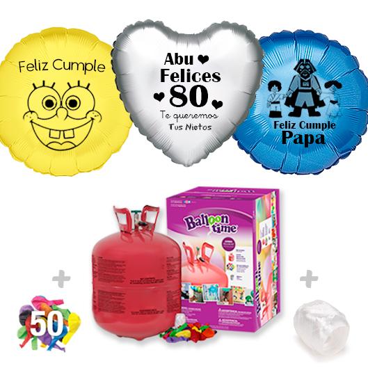 Pack Globos Cumpleaños: Helio grande + 1Globo Personalizado 1 tinta + 50 Globos