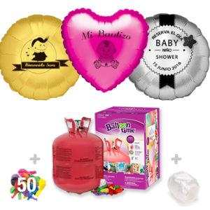 Pack Globos Bautizo: Helio grande + 1Globo Personalizado 1 tinta + 50 Globos