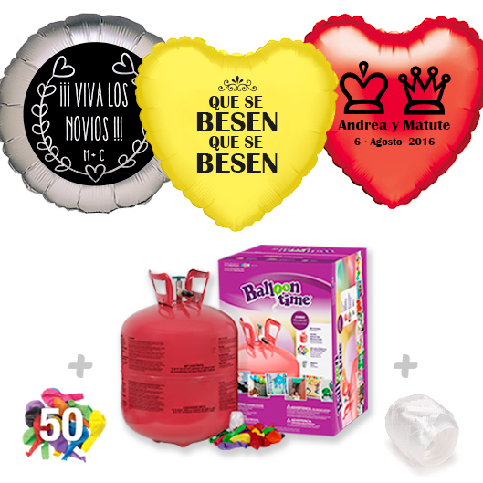 Pack Globos Boda: Helio grande + 1Globo Personalizado 1 tinta + 50 Globos