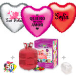 Pack Globos San Valentín: Helio grande + 1Globo Personalizado 1 tinta + 50 Globos