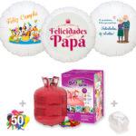 Pack Globos Cumpleaños: Helio grande +1 Globo Personalizado A Todo Color + 50 Globos surtidos