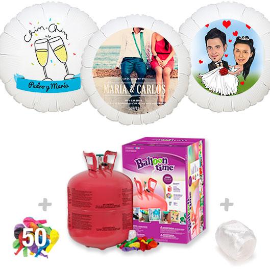 Pack Globos Boda: Helio grande +1 Globo Personalizado A Todo Color + 50 Globos surtidos
