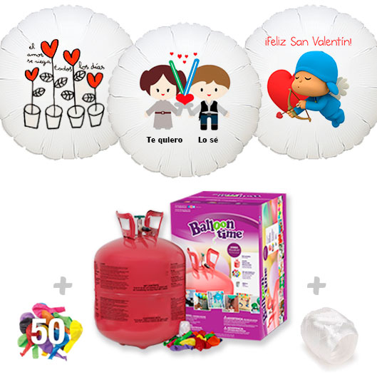 Pack Globos San Valentin: Helio grande +1 Globo Personalizado A Todo Color + 50 Globos surtidos