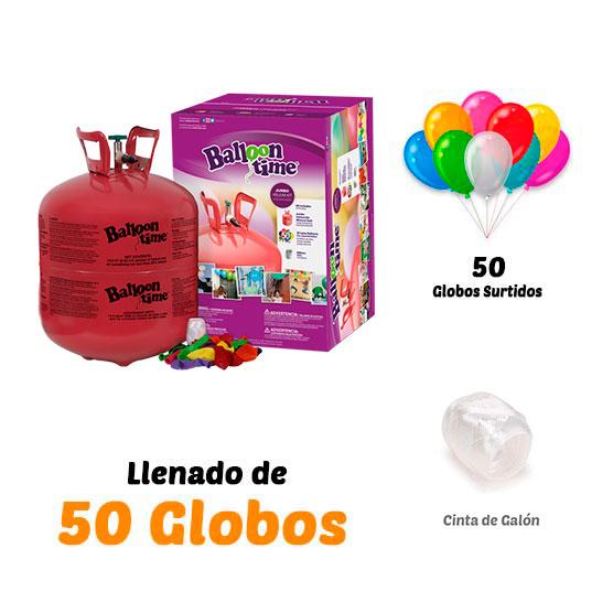Botellas de Helio Grande + bolsa de 50 globos de Regalo Surtidos
