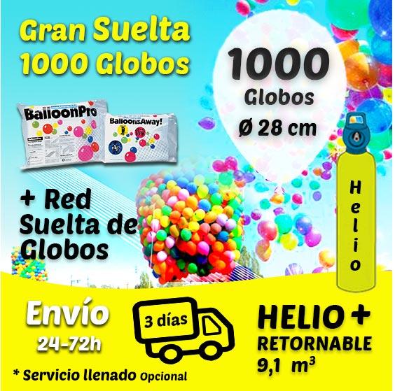 Gran Suelta de 1000 Globos 28 cm + Helio + Cinta