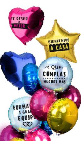 Ramos de Globos de Helio de Colores Impresos 1 tinta. Relleno de Globos poliamiada