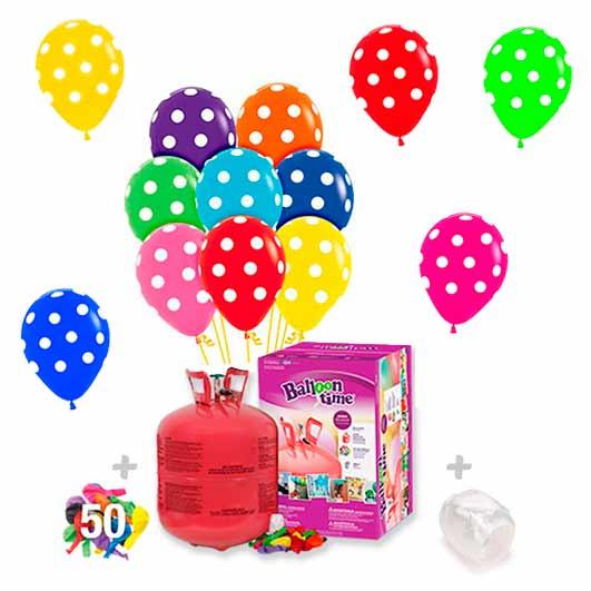 40 Globos Lunares con Botella helio Grande