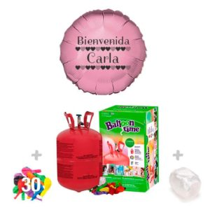 Pack Globos Bautizo: Helio pequeño + Globo Personalizado 1 tinta + 30 Globos Surtidos